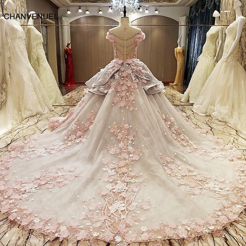 LS83920 evening gown zipper back beaded organza ball gown long evening dress abendkleider lang pink flowers