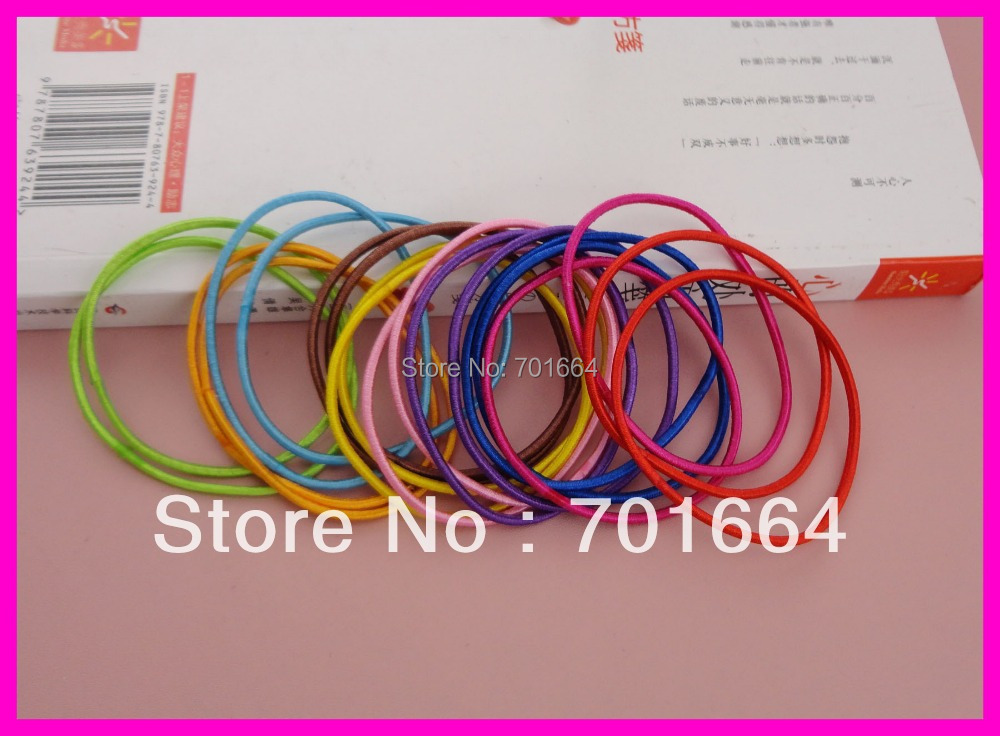 100PCS Assorted Colors 2mm elastic ponytail holders with gluing connection,2mm elastic hair bands,16.0cm length of circle