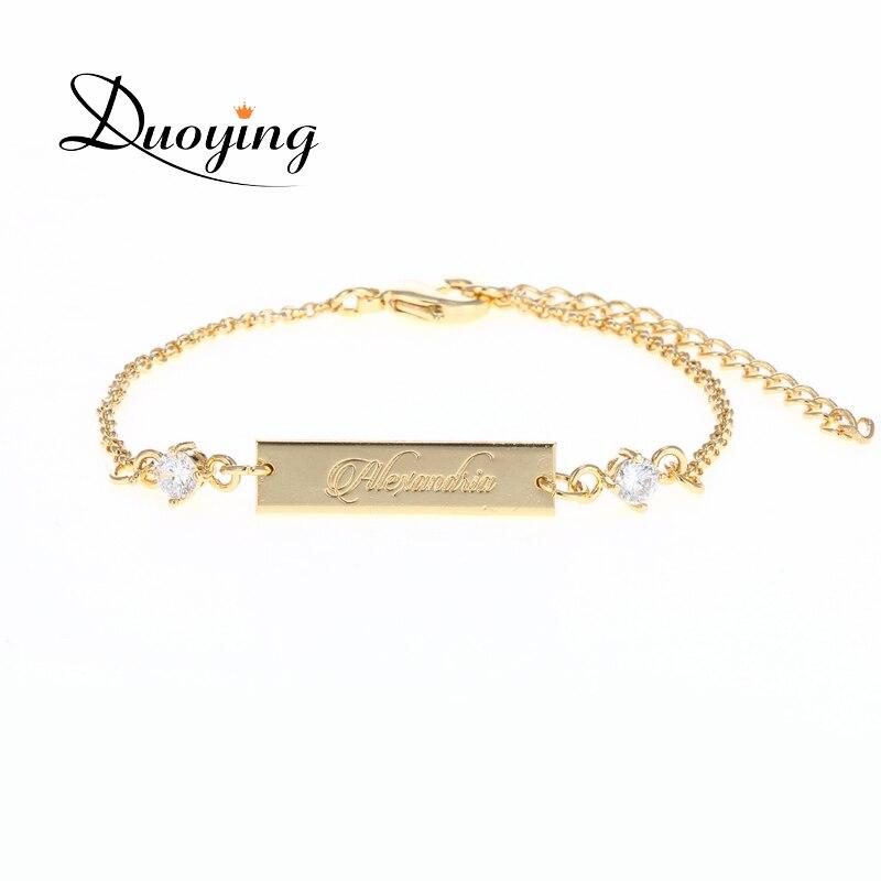 DUOYING Kristall Baby Armband Gold Farbe 25*6mm Bar Personalized Benutzerdefinierte Namen Graviert Armband Graduierung Geschenk Schmuck für Etsy
