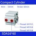 SDA16 * 60 Бесплатная доставка 16 мм диаметр 60 мм Ход Компактный воздушный цилиндр SDA16X60 двойного действия Воздушный пневматический цилиндр SDA16-60