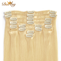 Clip In Human Hair Extensions 613 Blonde Clip In Human Hair 8 Pcs/Set Remy Brazilian Straight Human Hair Extensions 18 22 Inch