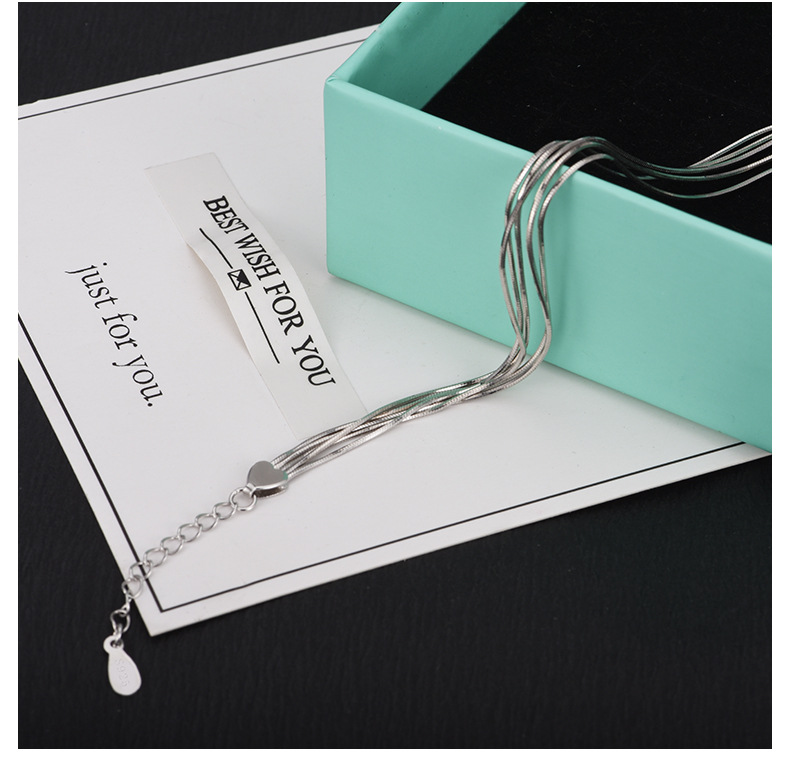 HTB1.S9imRUSMeJjy1zjq6A0dXXaw 2018 New Simple Multilayer Tassel Snake chain Bracelet Genuine 100% 925 Sterling Silver jewelry for women chrismas gift