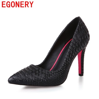 EGONERY fashion pumps high heels good quality pu leather pointed toe party shoes solid elegant ladies Snake skin pattern heels
