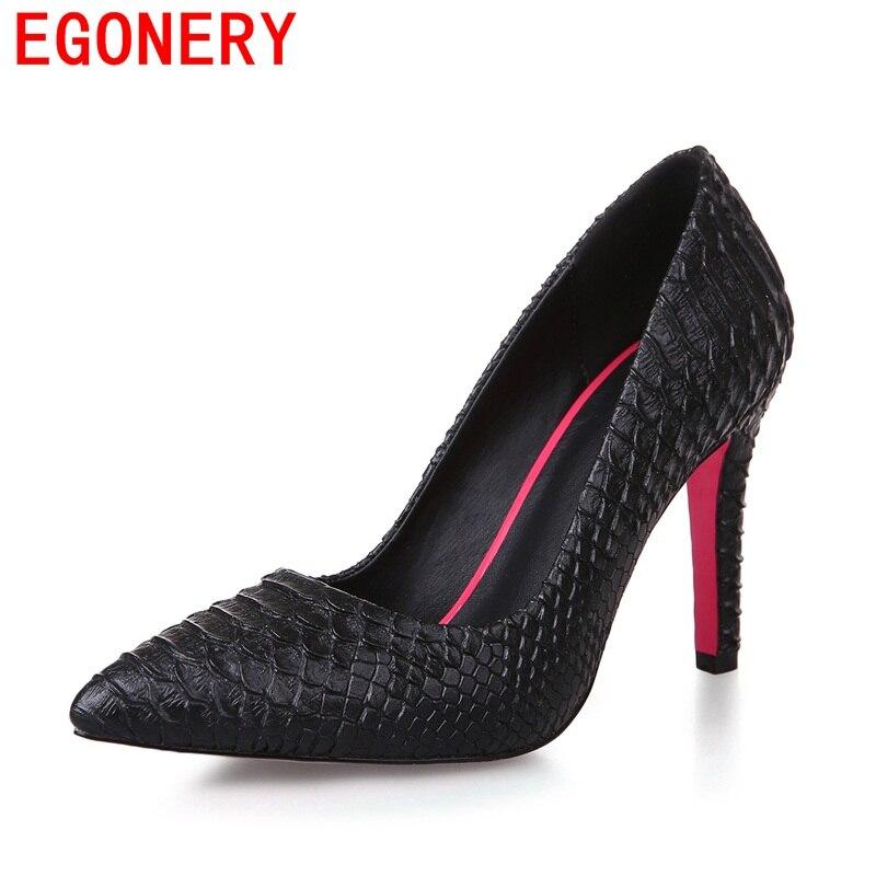 EGONERY модные туфли-лодочки Обувь на высоком каблуке хорошее качество искусственная кожа с острым носком вечерние туфли Элегантные однотонны...