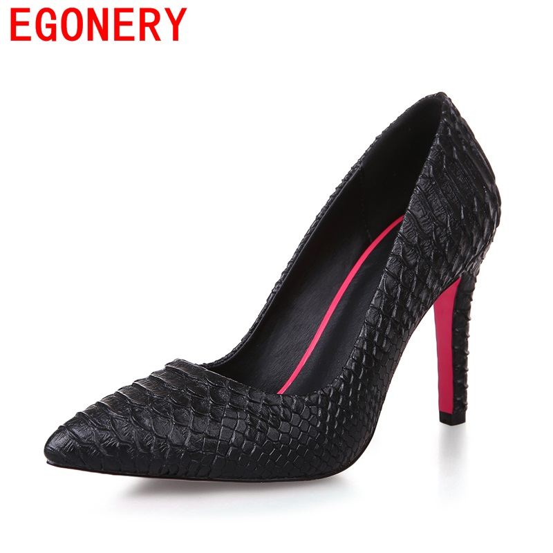 EGONERY fashion skin pattern pumps high heels good quality pu pointed toe party sexy shoes elegant ladies Snake women shoes