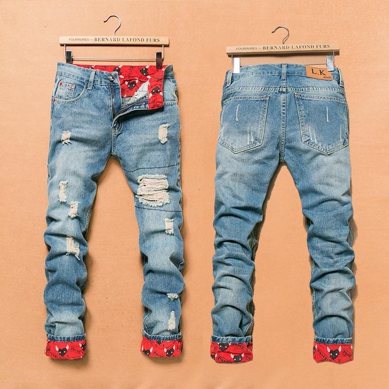 238434f8cce2 2019 Vintage Distressed Ripped Jeans Men Straight Slim Denim ...