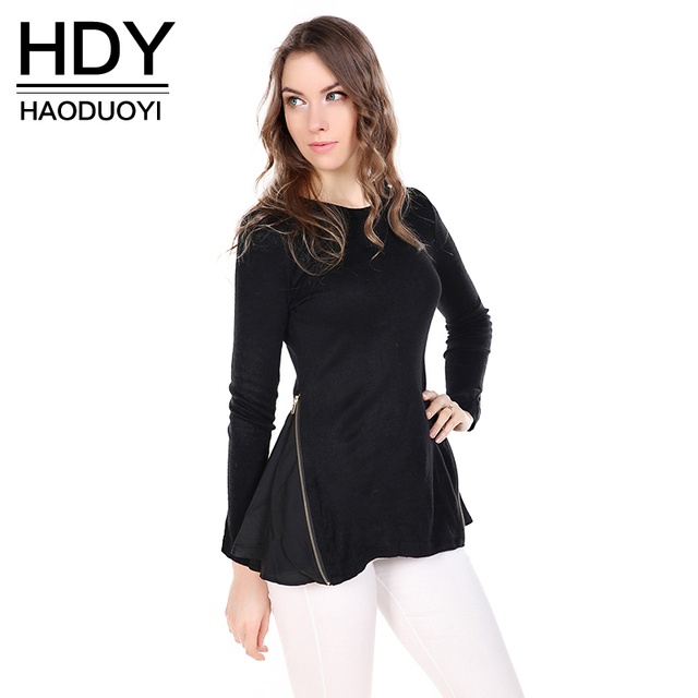 15e6827fc3e0cc HDY Haoduoyi Fashion Ruffles Shirts Women Long Sleeve Female Zippers  Pullover Tops Brief Style Solid Black