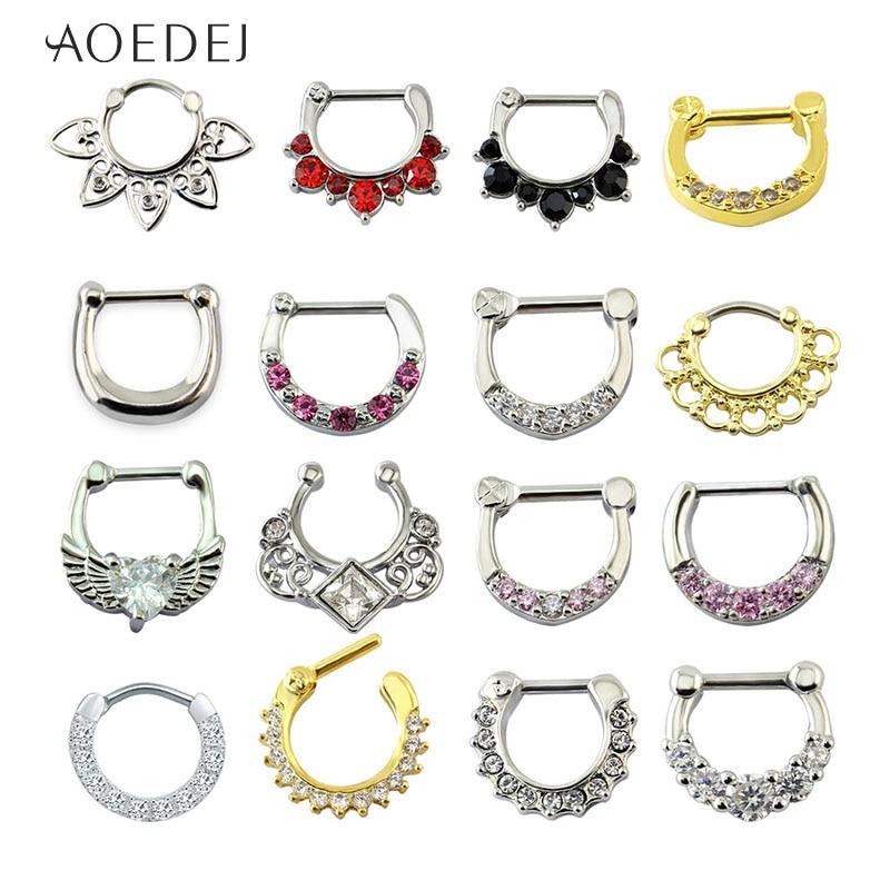AOEDEJ Nose Piercing Ring-Septum Body-Jewelry Crystal 16g Nariz