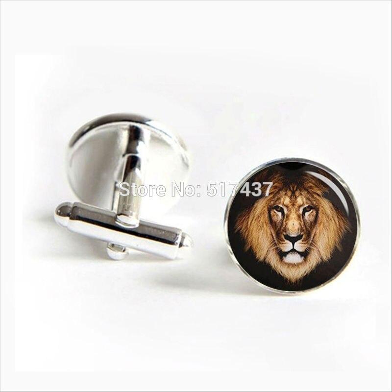 2016 Free Shipping Male Lion Cufflinks Male Lion Cuff Links Glass Lion Jewelry Men Cufflinks High Quality
