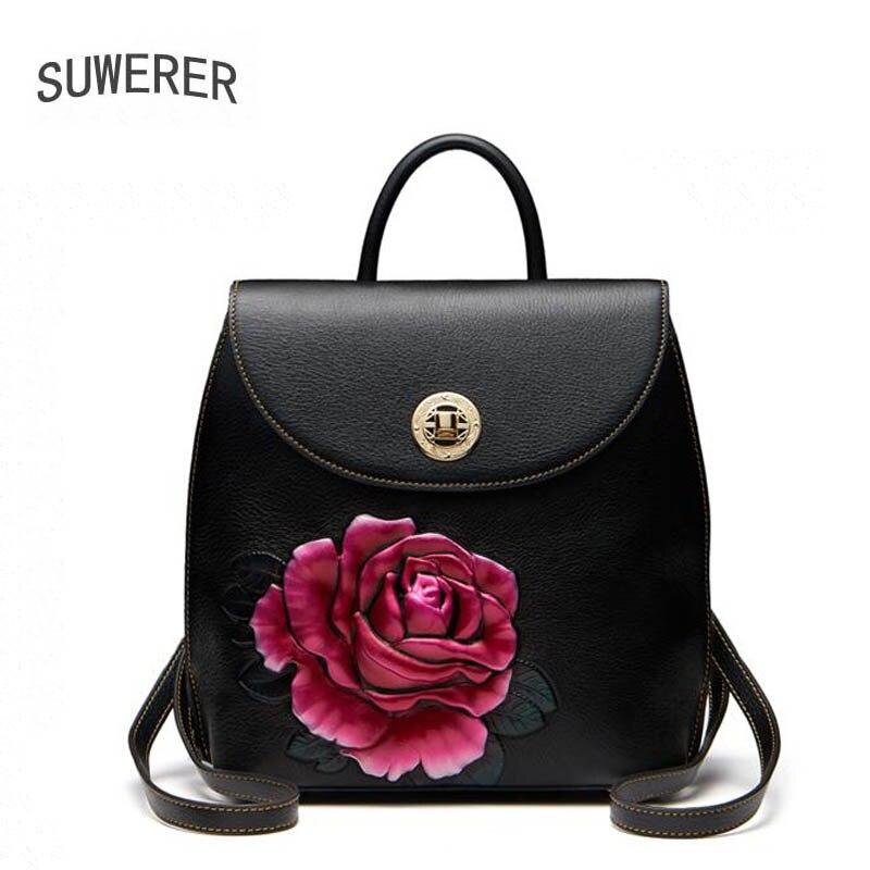 SUWERER 2018 new Genuine Leather backpack women luxury backpack women bags color flowers embossed designer bags women backpack faux leather flowers mini backpack