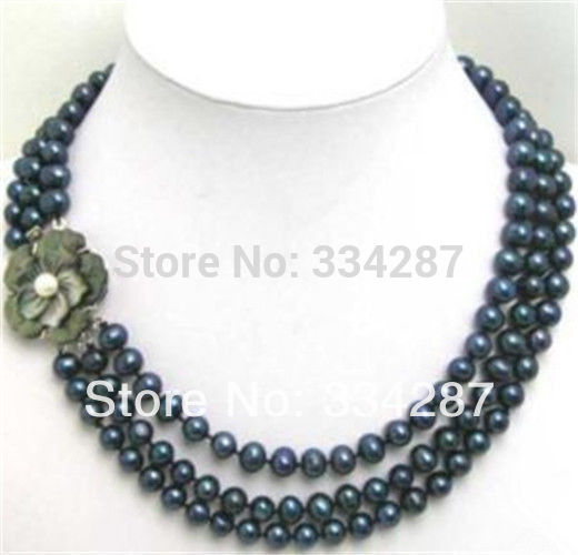 """100% Selling Picture full 3Row 7-8mm Black Pearl Beads with Flwoer Shell Clasp Necklace 17-19"""""""
