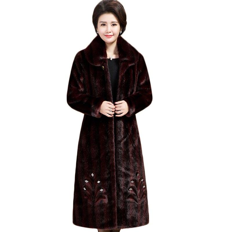 Fourrure Épaissir Haut De Plus En Long Luxe Wine 2019 Manteau Femmes Taille Gamme red Hiver Faux Veste Chaud Fausse Brown La dBpqxgfg