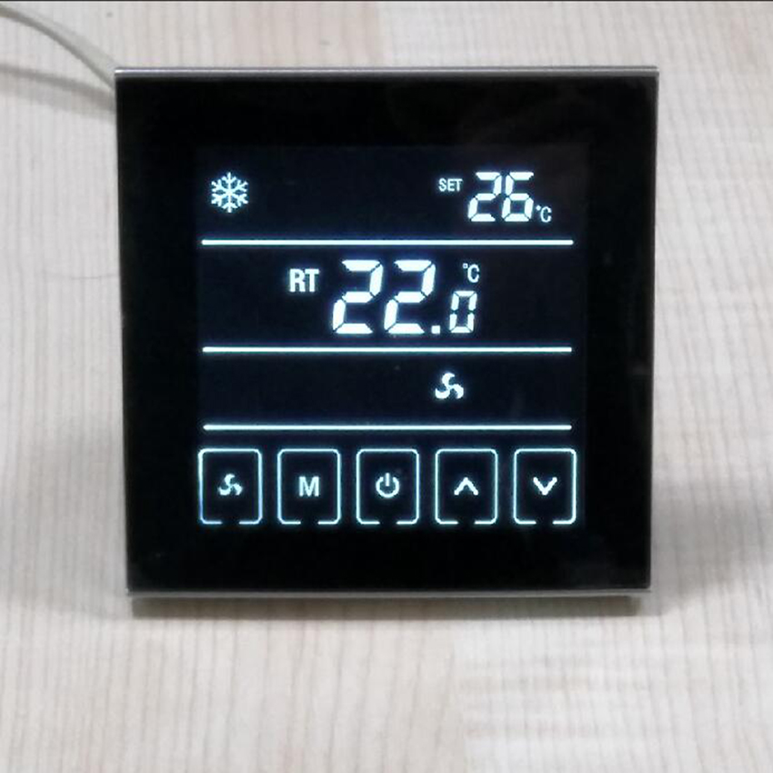 Black LCD Thermostat For Central Air Conditioning Fan Coil Units 2 Pipe System Cooling Heating Room Temperature Controller