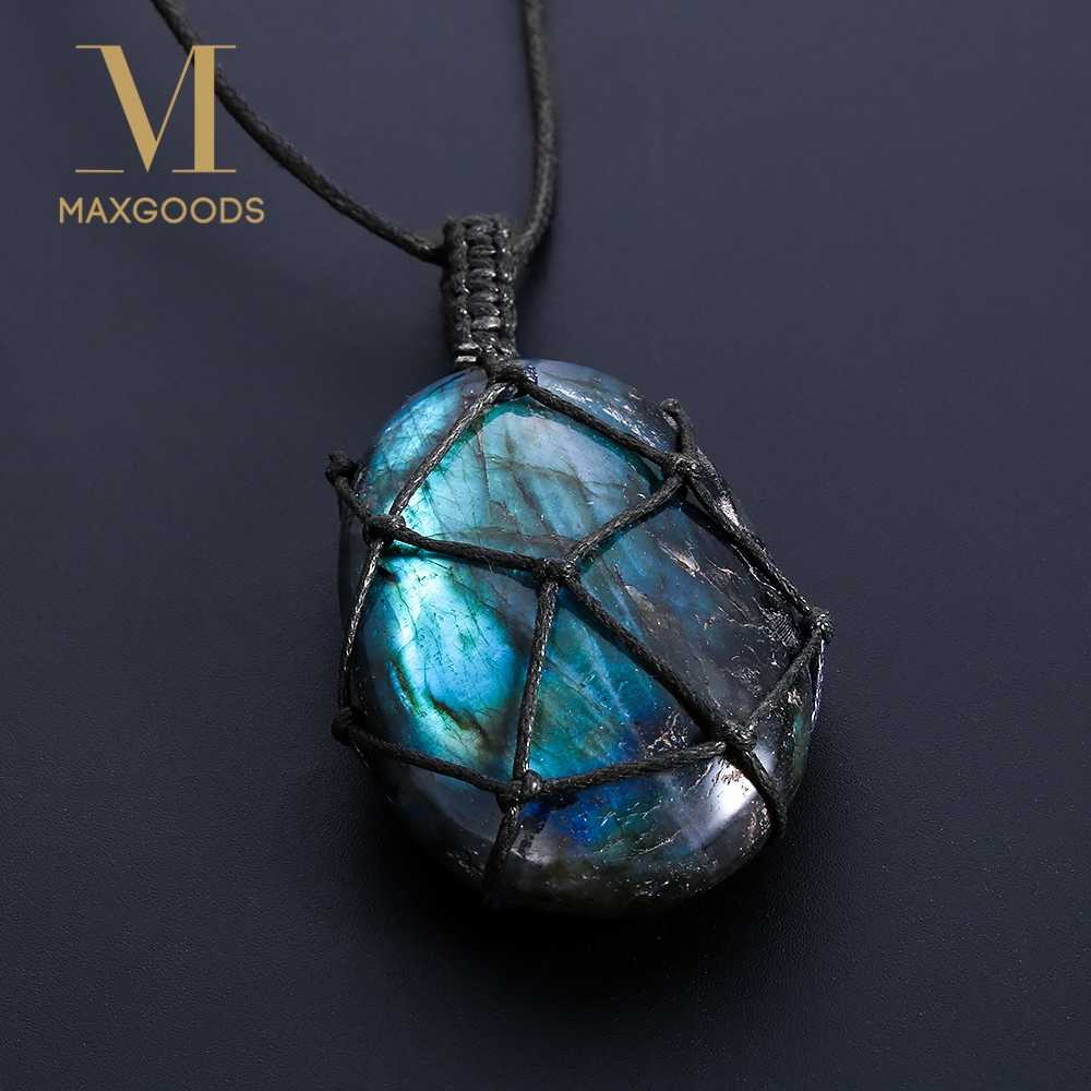 Dragons Heart Labradorite Necklace Natural Stone Pendant Wrap braid Necklace Yoga macrame Necklace for men women Energy necklace
