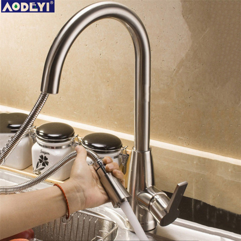 Solid Stainless Steel Single Handle Kitchen Faucet & Pull Out sprayer Hot and Cold Mixer Tap, Brushed Nickel 13-001 folding kitchen faucet hot and cold mixer tap sus04 stainless steel brushed nickel 13 009