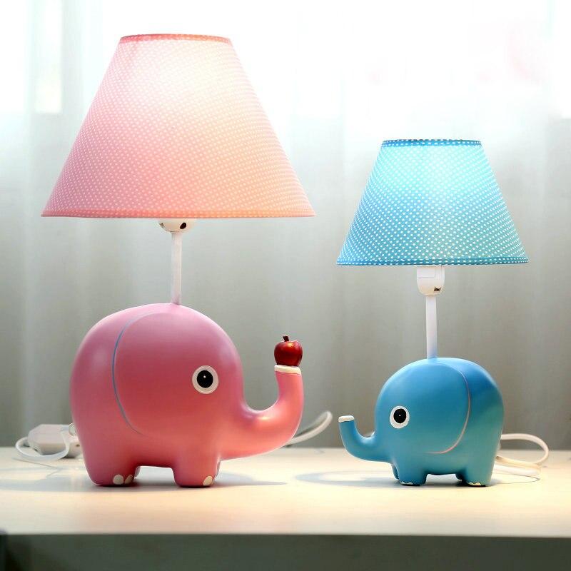 Мультфильм Настольные лампы модные Спальня ночники Прекрасный Слон смолы Материал E27 держатель лампы Чтение стол Lights tl140