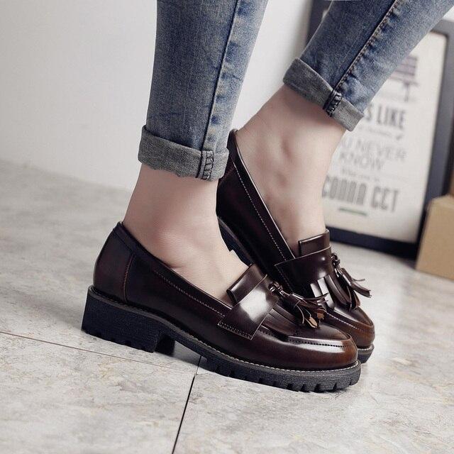 64c6505a75f61 Teahoo 2018 glands Oxford chaussures pour femmes en cuir verni sans lacet  chaussures décontracté Oxfords chaussures