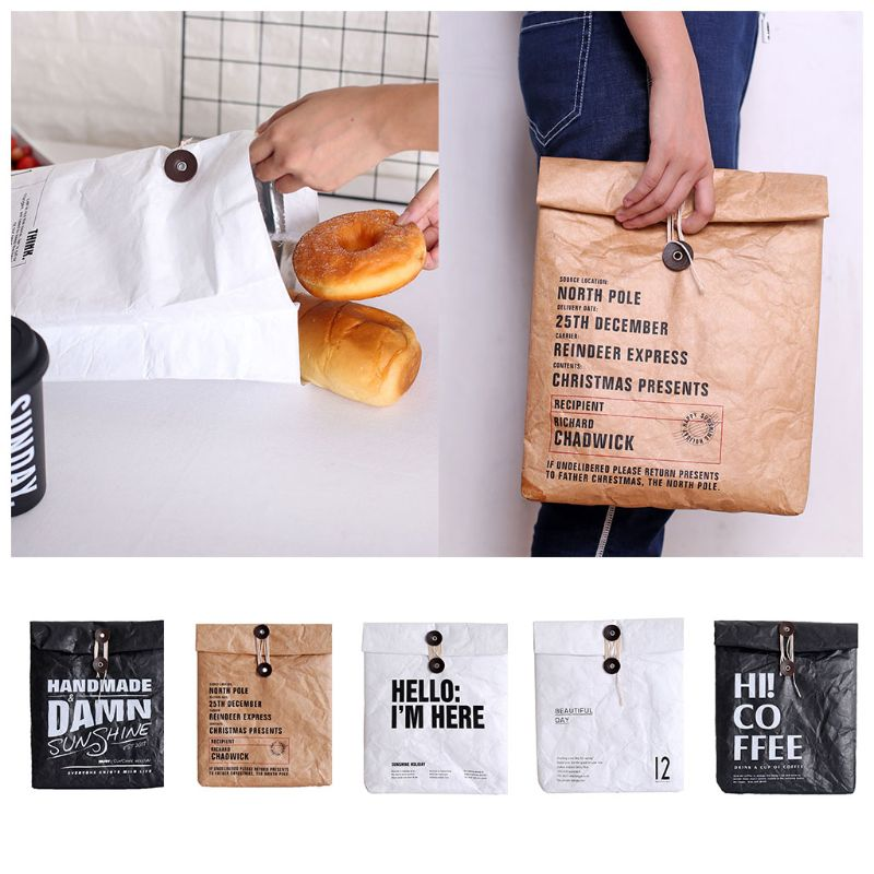 Creative Brown Paper Lunch Bag Reusable Box Sack Durable Insulated Thermal Paper Bag Snack Cooler Picnic Container