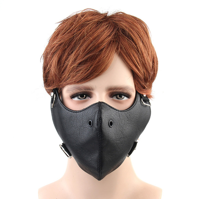 Motorcycle Face Mask Anti-fog Balaclava Face Shield Windproof Biker Riding Outdoor Mask PU Leather Face Mask For Men Women 3