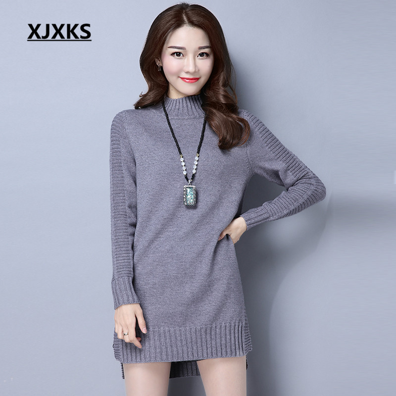 XJXKS 2018 Autumn And Winter Ladies Clothing Sweater Dresses Large Size  Natural Long Sleeve Pullover Turtleneck Sweaters 393a4a088
