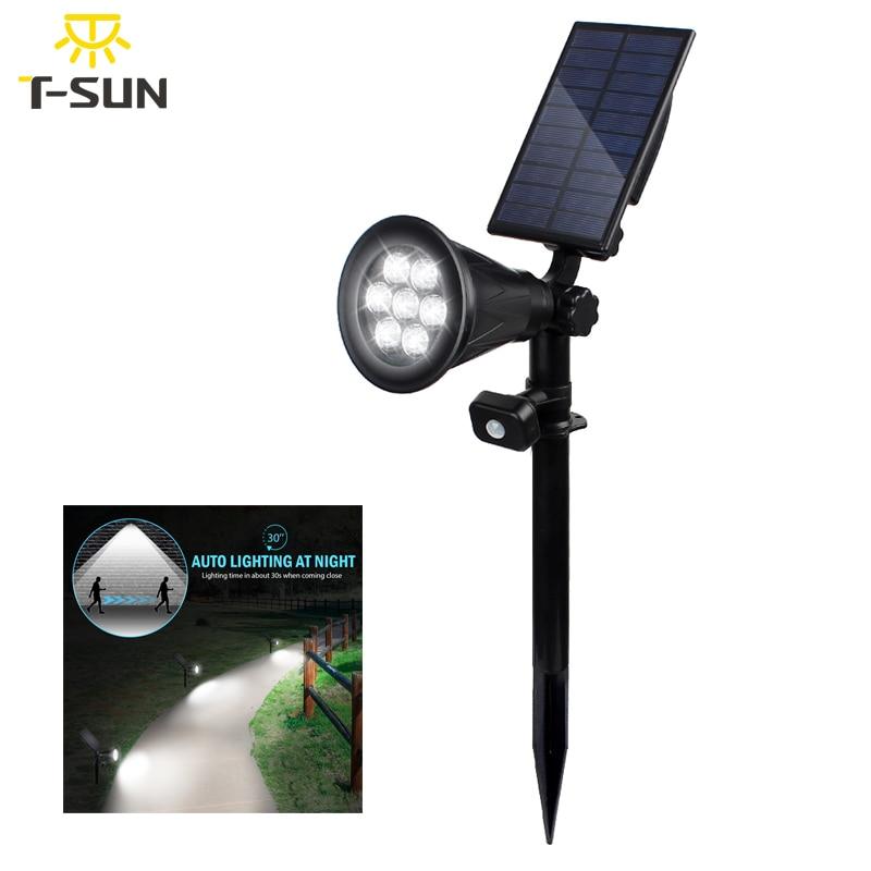t sunrise 7 led solar lampada pir sensor de movimento refletor luz parede ao ar livre