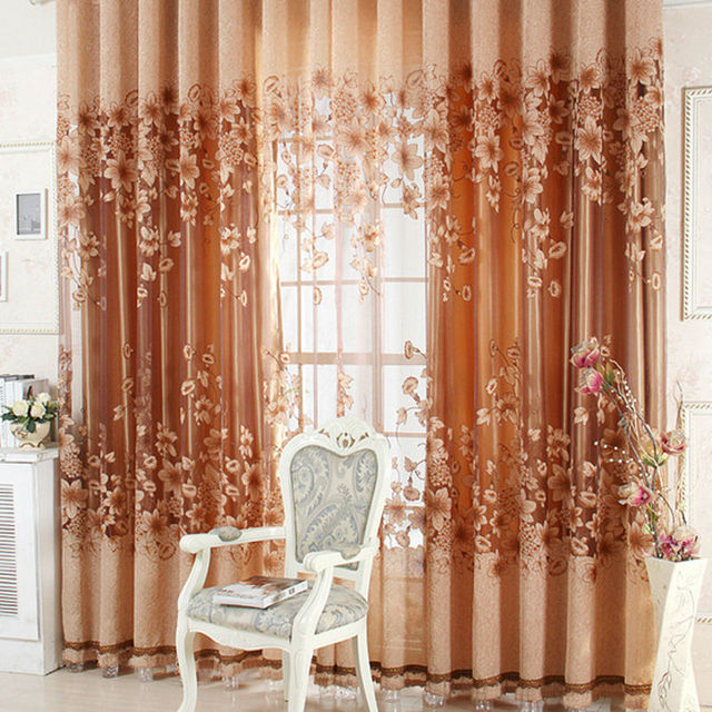 1PC Luxurious Curtains Upscale Jacquard Yarn Curtains Tulle Voile Door  Window Curtains Living Room Bedroom Decor