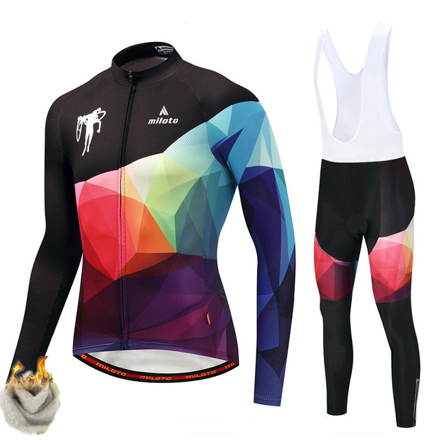 Miloto Winter Cycling Clothing 2019 Pro Team Thermal Fleece Cycling Jersey  Set Windproof MTB Long Sleeve 9b396888c