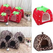 Cute Strawberry Pet Dog Cat House Kennel Tent Fashion Puppy Winter Warm Bed Cave Nest For Products