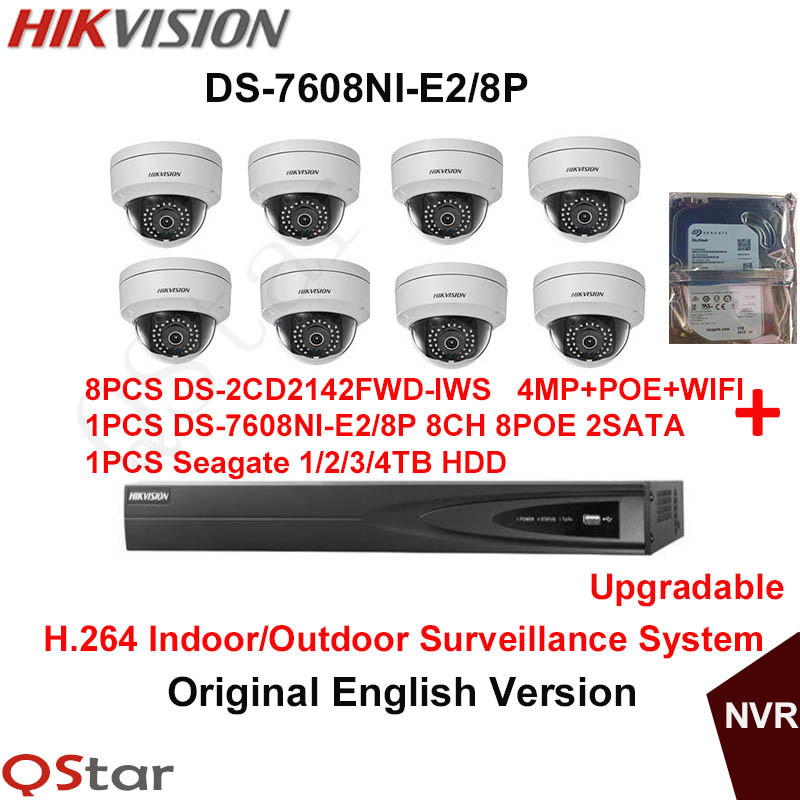 Hikvision Original English H 264 Surveillance System DS 2CD2142FWD IWS 4MP IP WIFI Camera POE 6MP