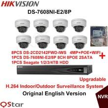 Hikvision Original English H.264 Surveillance System DS-2CD2142FWD-IWS 4MP IP WIFI Camera POE+6MP Recording NVR DS-7608NI-E2/8P