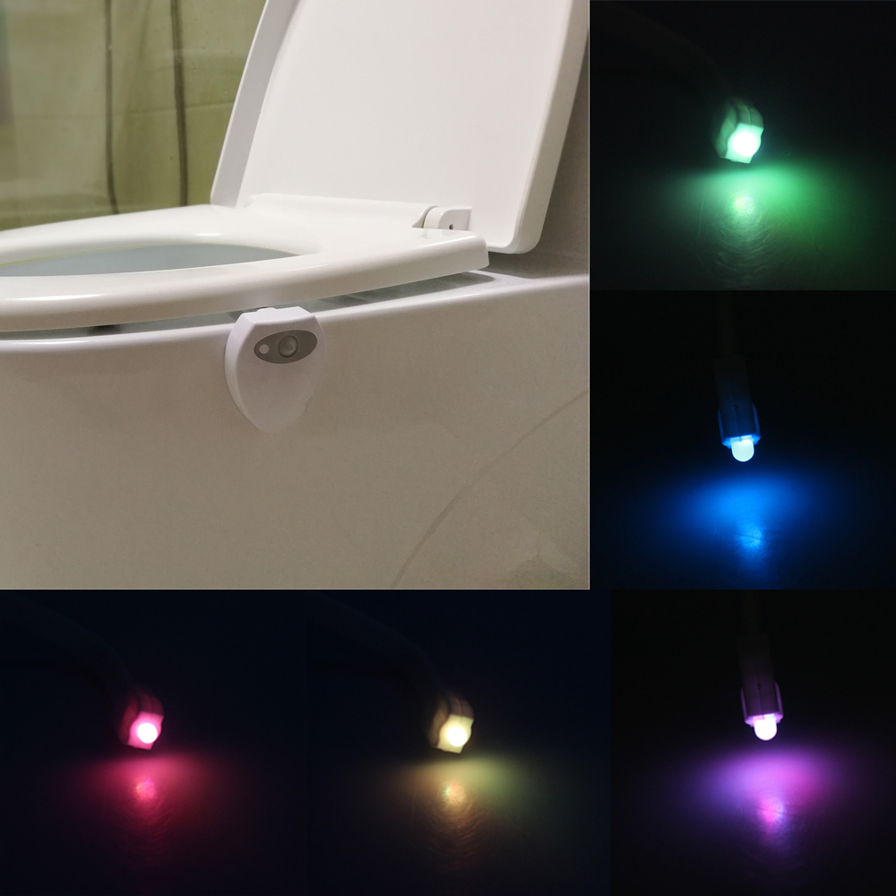 8 Colors USB Rechargeable LED Toilet Light Motion Sensor Activated Bathroom Night Lamps Toilet Bowl Light Creative Night Lights color changing led lamps kids washingroom bathroom motion bowl toilet light activated on off lights seat sensor lamp nightlight
