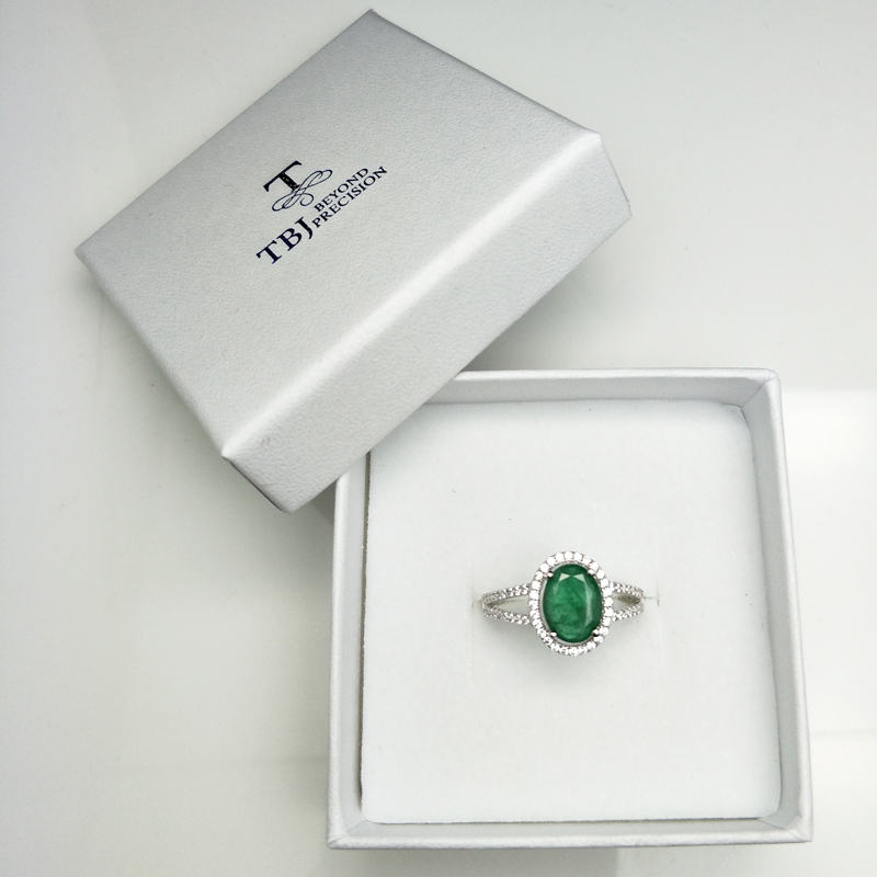 Image 5 - TBJ, 100% natural emerald ring in 925 sterling silver with gift box,elegant dianna rings with natural emerald gemstone ring-in Rings from Jewelry & Accessories