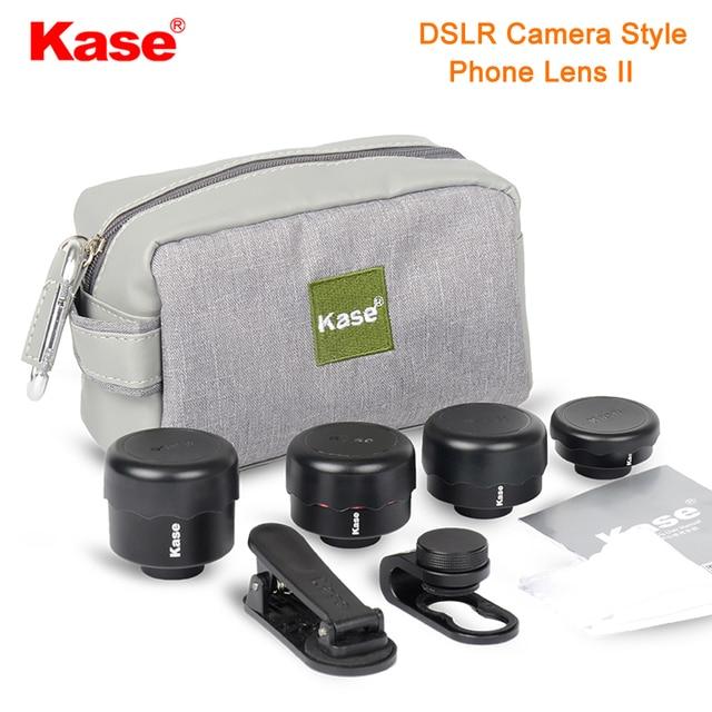 طقم عدسات هاتف بنمط كاميرا DSLR 4 في 1 من Kase II بزاوية واسعة/ماكرو/عين السمكة/عدسة تليفوتوغرافي للهواتف الذكية iPhone 8 سامسونج وهواوي