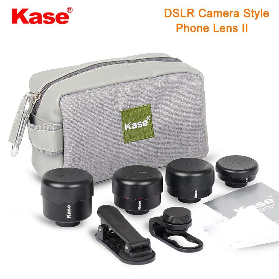 Kase 4 в 1 DSLR камера Стиль телефон объектив II комплект широкоугольный/Макро/рыбий глаз/телеобъектив для смартфона iPhone 8 samsung huawei