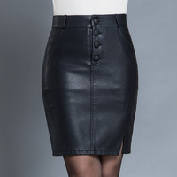 Women Skirts Midi Autumn Fashion Black PU Leather Skirts Women High Waist Slit Package Hip Leather