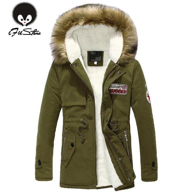 2016 new arrival men's thick warm winter down coat fur collar army green men parka big yards long cotton coat jacket parka men