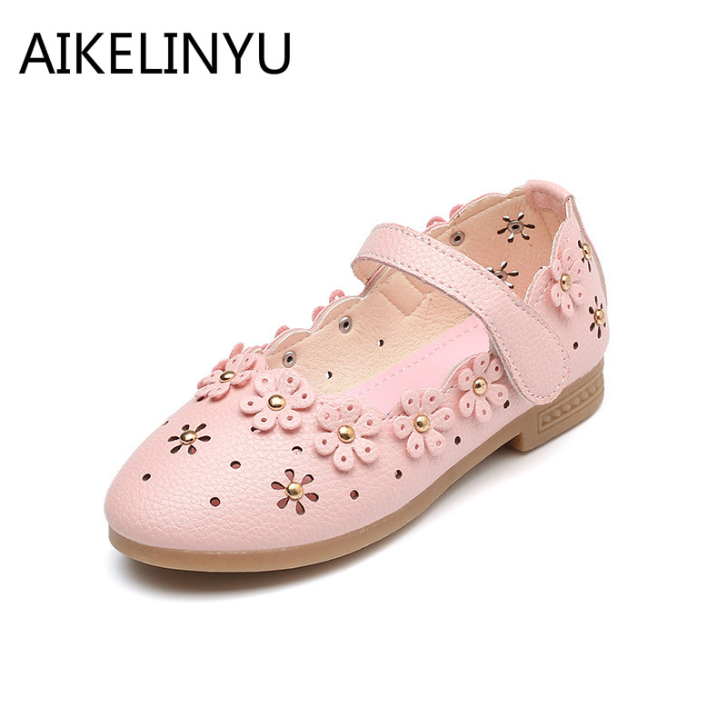AIKELINYU 2018 Autumn Hollow girls princess shoes kids Flower party shoes girls Casual girls flat Sandals Children leather shoes