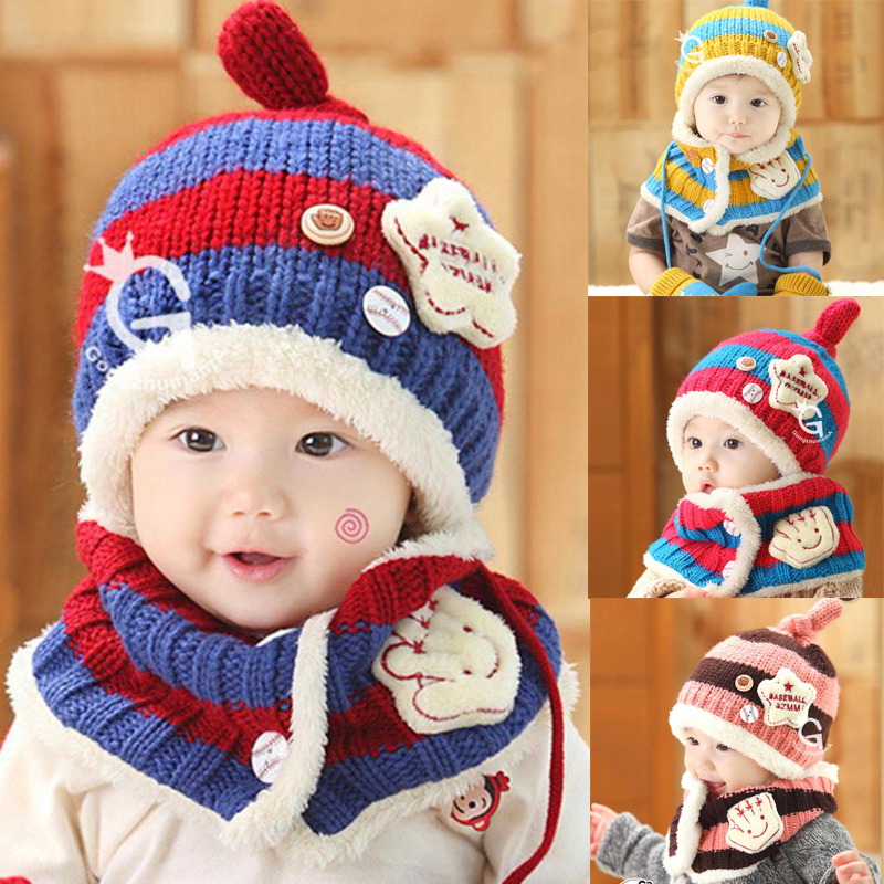 9bf96363a 2pc Warm winter baby hats Knitted Earflap Hat and Scarf Set Casual ...