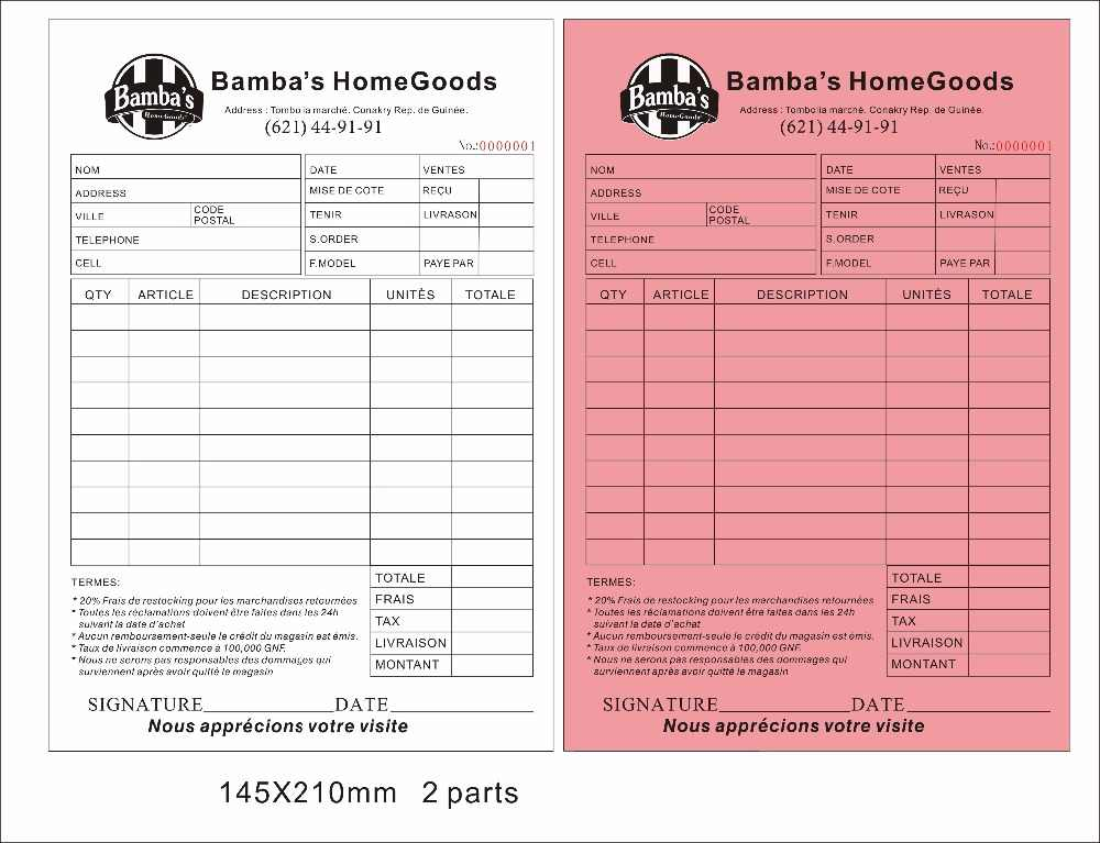 Custom Print A5 175x210mm Two Copy Carbonless Paper Invoice
