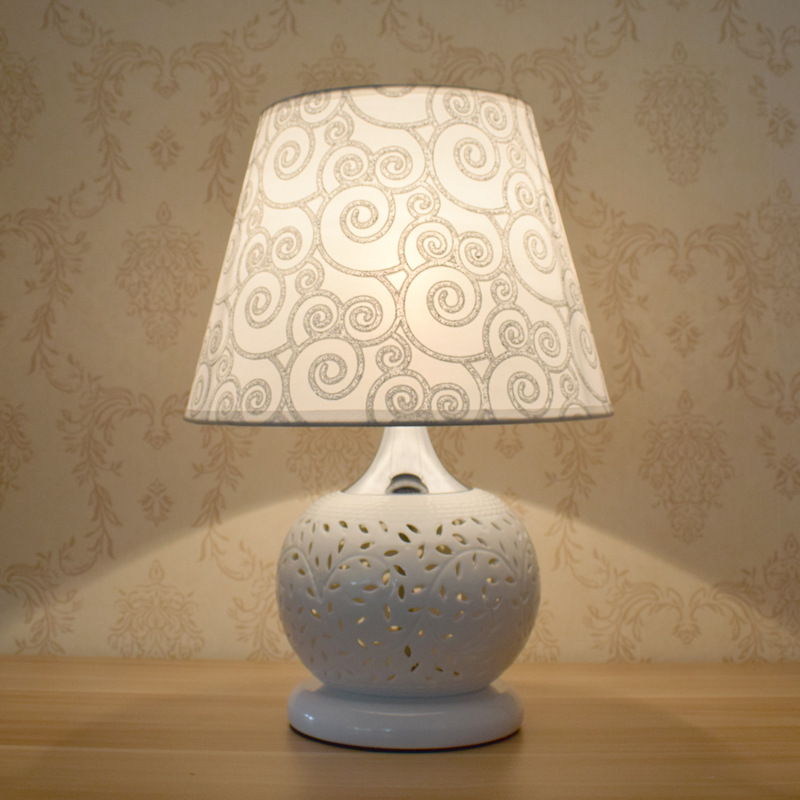 TUDA 25X38cm Free Shipping White Ceramic Table Lamp Remote Control Adjustable Light Color Modulation Decoration Table Lamp E27 taie thermostat fy800 temperature control table fy800 201000