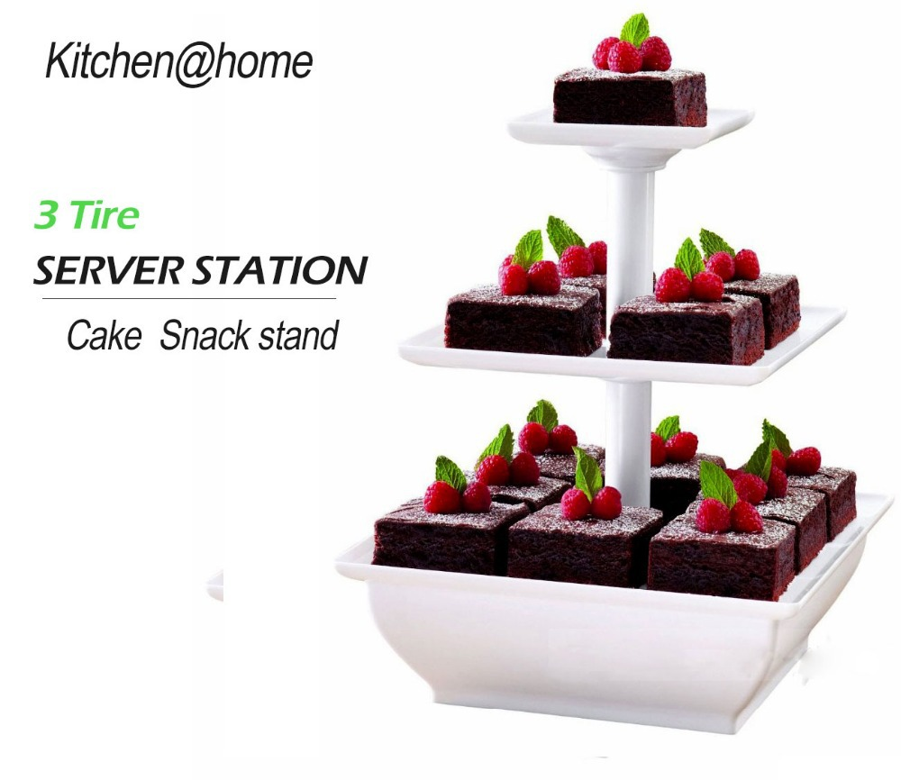3 Tier Plastic Wedding Cake Stand Tower Square Cupcake Snack Holder Decoration Baking Tools Party K008