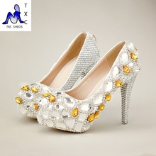 Elfenbein Silber Goldene Bowtie Perle Plattform Strass Kristall Schuhe Frau Pumpt Hohe Absätze Braut Prom Party Hochzeit Schuhe