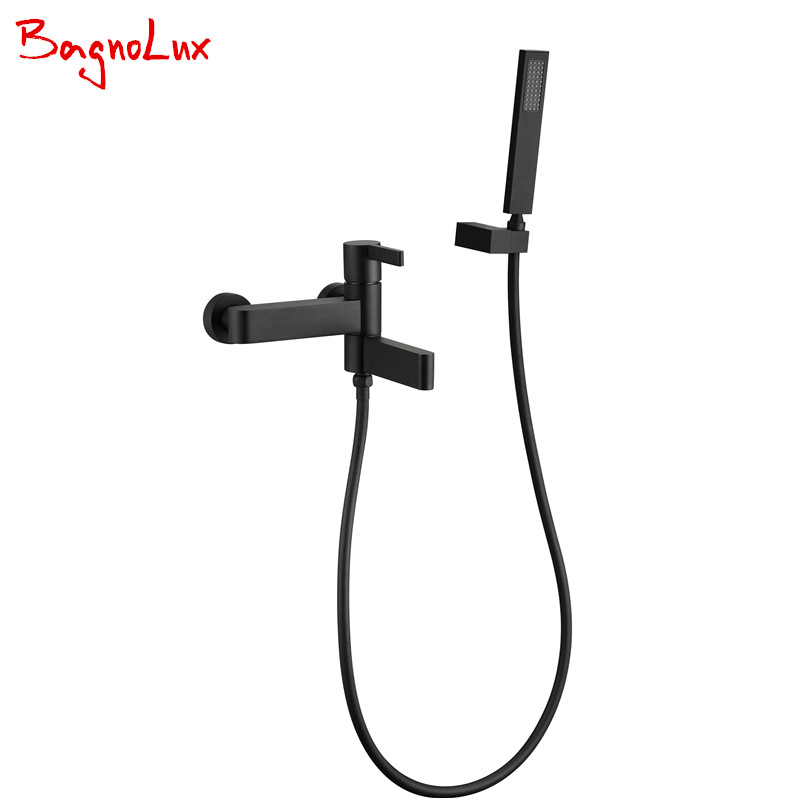 Bagnolux Wholesale Super High Quality Wall Mounted Matt Black Crane Bathtub Faucet With Swivel Spout & Hand Shower Set 170606-2 1 piece free shipping anodizing aluminium amplifiers black wall mounted distribution case 80x234x250mm