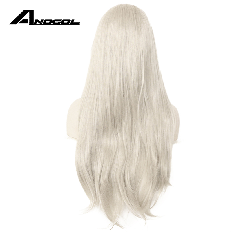 Anogol High Temperature Fiber Silver Grey Long Natural Wave White Wigs Synthetic Lace Front Wig For Women Cosplay