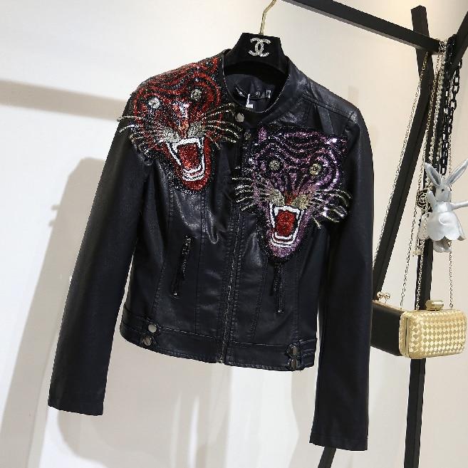 Pu   Leather   Jacket Women Fashion Tiger Embroidered Black Motorcycle Coat Short Faux   Leather   Biker Jacket Soft Jacket Female
