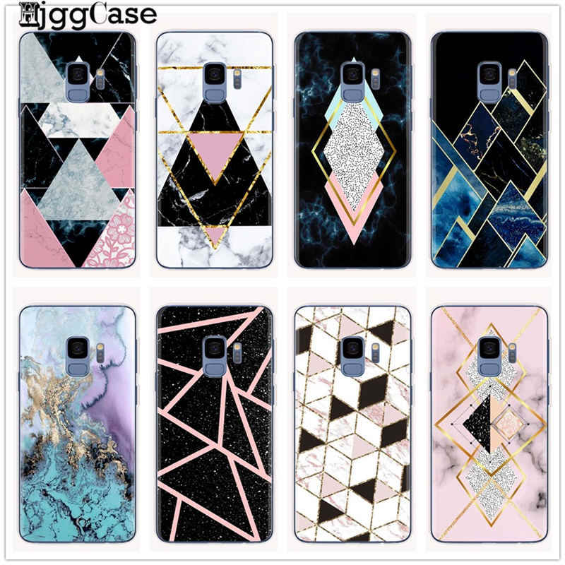 Geometric Marble Case For Coque Samsung Galaxy S6 S7 Edge S8 S9 S10 Plus A5 2017 A520 A7 J4 J6 A6 A8 Plus 2018 Cover Soft Cases