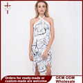 2016 Women Summer Sexy Bodycon Midi Dress Knee Length Keyhole Sleeveless Cross Halterneck Party Dress vestidos de playa