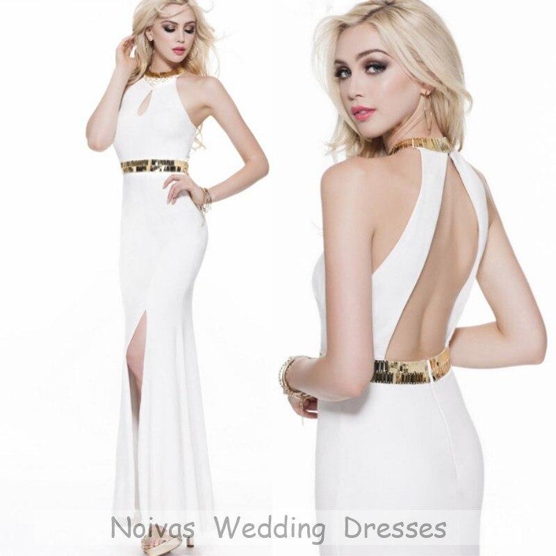 Vestido Formatura White Gold Prom Dresses Long Open Back Mermaid 2015 Slit Elegant Tight - Noivas Beauty Store store
