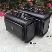 MAHEU Bonded Leather Travel Luggage With Wheels 19 inch Leather Travel Suitcase Black Color Rolling Trolley Case