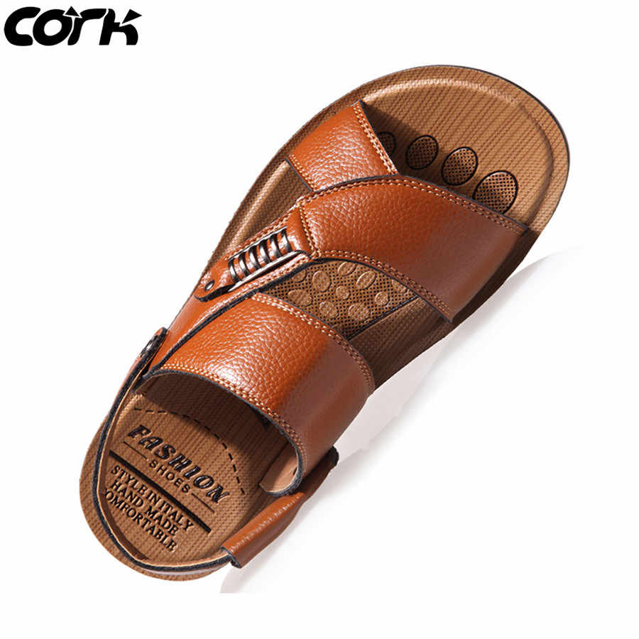 Cork Men Sandals Summer Genuine Leather Roman Sandals Male Casual Shoes Beach Flip Flops Men Fashion Outdoor Slippers Shoes